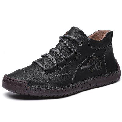 Mens Casual Boots First Layer Cowhide Upper Rubber Soft Sole Hiking Shoes Comfortable Round Toe Walking Shoes