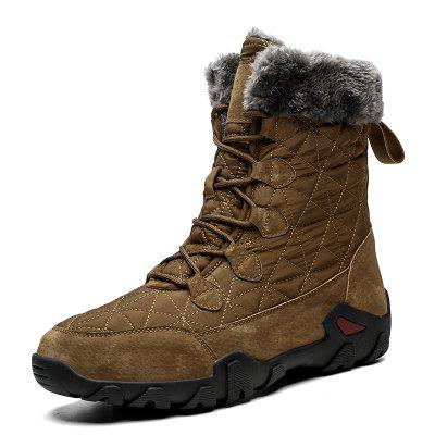 Mens Winter Warm Plush Thick Velvet Snow Boots Waterproof Cloth + Pigskin Upper Non-slip Damping Wearable Rubber Platform Hiking Boots