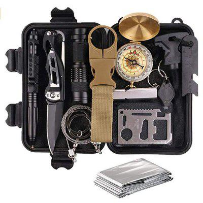 Emergency Survival Kit Gear First Aid SOS Tactical Tool Flashlight with Molle bag Suitable for Camping Adventure