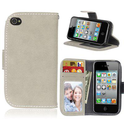 Card Slots Wallet Case Flip Cover PU Leather for Apple iPhone 4 4S iPhone4  C2