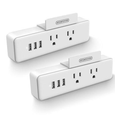 NTONPOWER Power Strip 2 Outlets With 3 USB Ports and Phone Stand Charging Wall Mounted US Plug for Travel/Home/Washroom/Kitchen