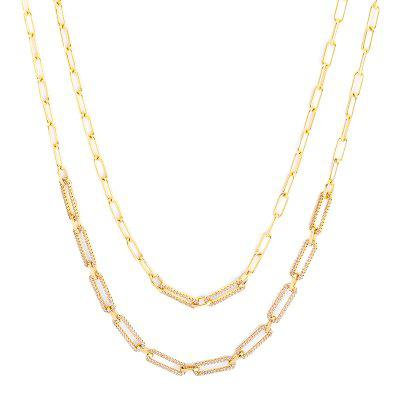 Women Jewelry Copper Inlaid Zirconium Double necklaces Metallic Sparkle Gold / Silver Champagne for Daily Ceremony