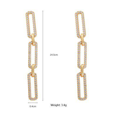 Women Jewelry 925 Silver Needle Copper Inlaid Zirconium Long Chain Stud Earrings Metallic Sparkle Gold / Champagne for Daily Ceremony