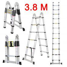 (TELE LADDER 190D 12) Finether 3.8M Portable Heavy Duty Multi-Purpose Aluminum Folding Telescoping A-Frame Ladder with Hinges, EN131 Certified, 330 Lb Capacity, Convient for Home Loft Office - SILVER