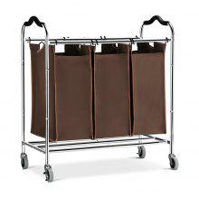 (LAUNDRY SORTER) LANGRIA Heavy Duty Laundry Hamper Stand Rolling Laundry Sorter Cart with 3 Durable Detachable Bags, 4 Casters and Anti-Slip Handles (Capacity 75 lbs., Chrome, Brown Bag) - DEEP BROWN
