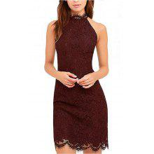 Kenancy Womens Elegant Sleeveless Full Floral Eyelash Lace Cocktail Party Wedding Evening Special Occasions Halter Style Bodycon Dress