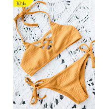 Ribbed Texture String Strappy Bikini