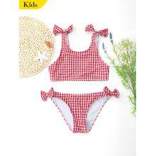 Bowknot Plaid Kids Swimwear