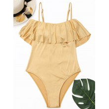 Shiny Ruffle High Cut Swimwear