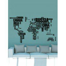 World Map in English Print Removable Wall Sticker Set