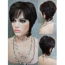 Oblique Fringe Short Layered Straight Human Hair Wig