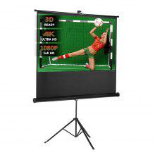 "Excelvan 100"" Diagonal 16:9 Aspect Ratio 1.1 Gain Portable Pull Up Projector Screen For HD Movies Projection with Stable Stand Tripod"