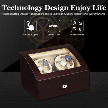 Luxury Double Display Box Case Automatic Dual Watch Winder Box 4+6 wood storage Xmas Gift EU - BLACK