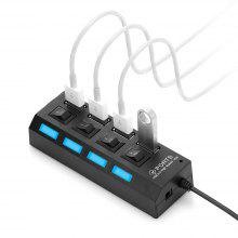 4-port USB 2.0 Hub with Individual Power Switch LED Indicator