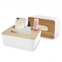Multifunctional Bamboo Tissue Box Roll Paper Case