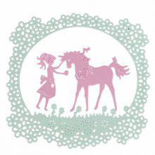 Girl Unicorn Design Metal Cutting Dies for Greeting Card Cover Photo Album