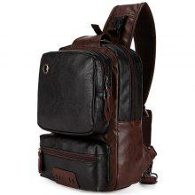 VICUNAPOLO Stylish Splicing Anti-theft Chest Bag with USB Port