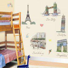 AY9090 Decorative Wall Sticker Set Architecture Mural Decal