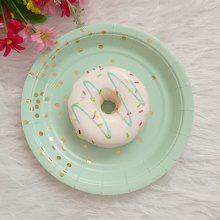 7 inch Gold Foil Dot Round Paper Plate 8pcs