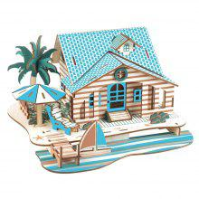 Holiday House Shape 3D Wood DIY Jigsaw Puzzle Toy Gift