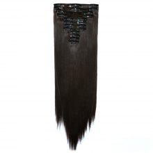 12pcs/Set Hair Extensions Accessory Women Fashion Long Straight Hair Pattern Chemical Fiber Stylish Wigs