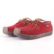 Women s Shoes Suede Casual Flat Heel Lace-up Loafers