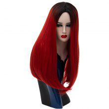Fashion Long Straight Wine Red Bob Hair for Women Heat Resistant Wig 24 inch
