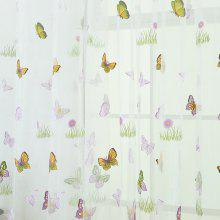 Green Grass Butterfly Pattern Fashion Curtain