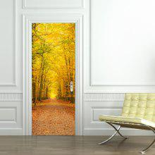 Autumn Deciduous Large Yellow Tree Leaves Landscape Door Stickers