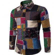 New Spring Fashion Personality Colorful Men's Long Sleeve Shirt
