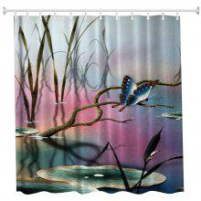 Lotus Leaf Butterfly Water-Proof Polyester 3D Printing Bathroom Shower Curtain