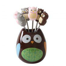 Cute Owl Shaped Stainless Steel Fruit Fork and Holder