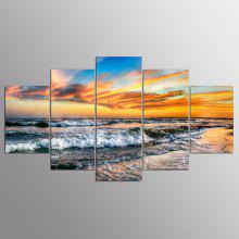 5 Panel Hd Modern Surf Sunset Art Print Canvas Art Wall Framed Paintings
