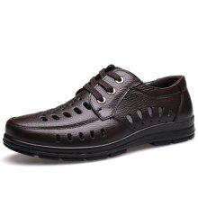 MUHUISEN Summer Men Lace Sandals Breathable Perforated Shoes