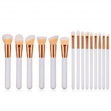 High Quality Wooden Handle Straight Make Up Brush 15PCS