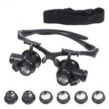 Double Eye Jewelry Watch Repair Magnifier Loupe Glasses with LED Light 8 Lens