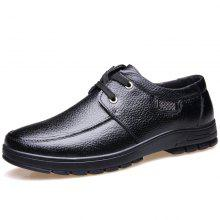 MUHUISEN Men'S Casual Leather Breathable Lace Up Flats Business Shoes