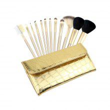 12pcs Make Up Brushes with Luxury Golden Bag ( Collection )