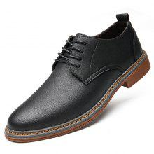 MUHUISEN Men'S Casual Leather Lace-Up Flats Breathable Comfortable Shoes