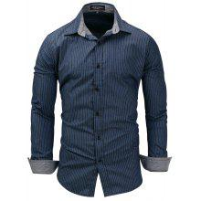 adf3d92d FREDD MARSHALL Men's Long Sleeve Denim Striped Casual Shirt
