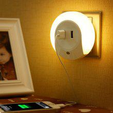 LED Night Light Sensor 2 USB Charging Socket Mobile Phone Charger
