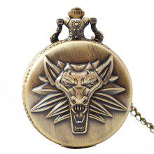 Seasonal 3152335 Large Quartz Wolf Head Pocket Watch