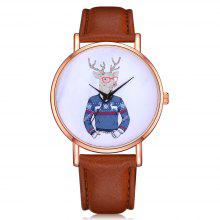 Lvpai P340 Unisex Analog Quartz Leather Wrist Watch with Deer Dial