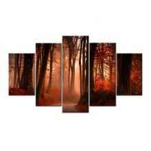 Red Forest Trail Frameless Printed Canvas Art Print 5PCS