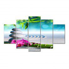 Blue Stone Bamboo Sand Frameless Printed Canvas Art Print 5PCS