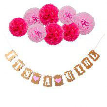 Baby Birthday Party Decoration Paper Flower Ball Banner
