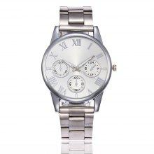 Stainless Steel Quartz Watch with Roman Scale