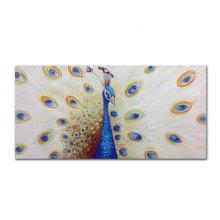 STYLEDECOR Modern Hand Painted Abstract Peacock Oil Painting on Canvas Wall