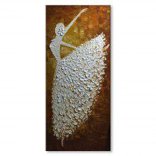 STYLEDECOR Modern Hand Painted A Dancer in White Dress on Canvas Oil Painting