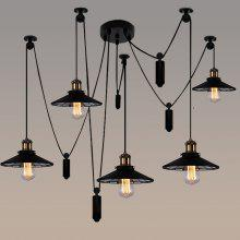 Retro Industrial Style American Village Retro Lifting Pulley Chandelier Telescop